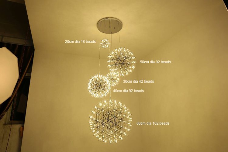 Hotel Restaurant Hanging Chandelier Lighting Lamps Round Stainless Steel Zhongshan Pendant Light Modern