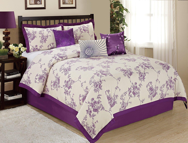 7 Piece SUNRISE Floral Printed Comforter Set Queen King CalKing Size (Queen, Purple)
