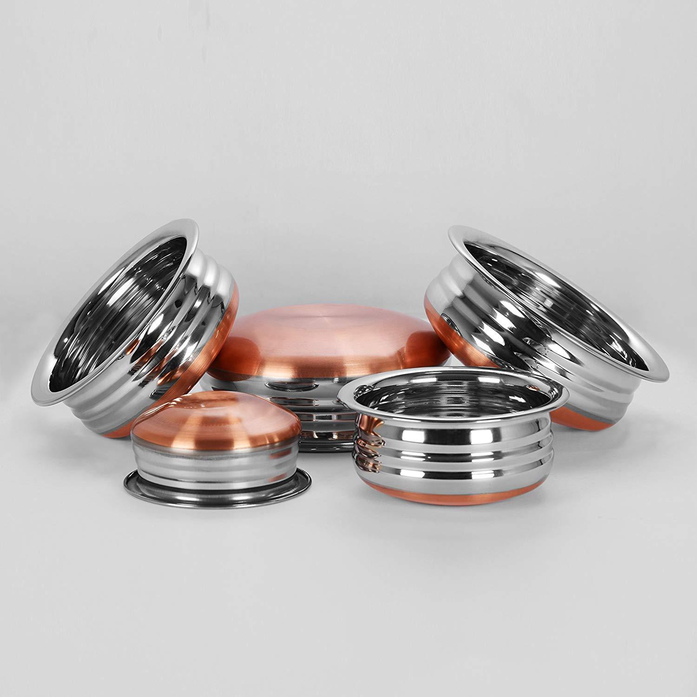 Sumeet Stainless Steel Copper Bottom Urli/Handi / Pot For Cookware & Serveware - 5 Pcs Set (1 Nos.: 0.5 L, 1 Nos.: 1 L, 1 Nos.: 1.3 L, 1 Nos.: 1.7 L, 1 Nos.: 2.1 L Urli Without Lid)