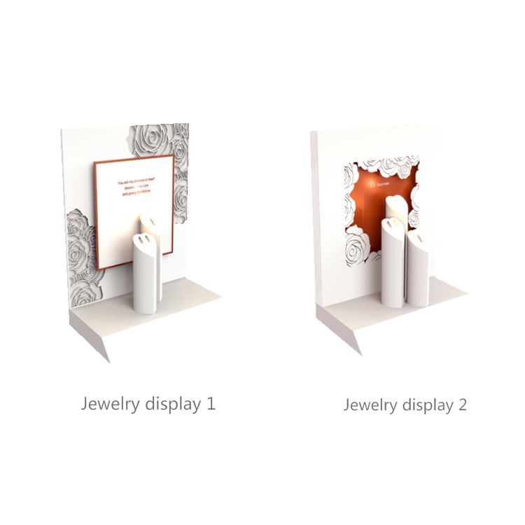 high-end and luxury flower white wooden jewelry window displays with heart-shaped   jewelry stands