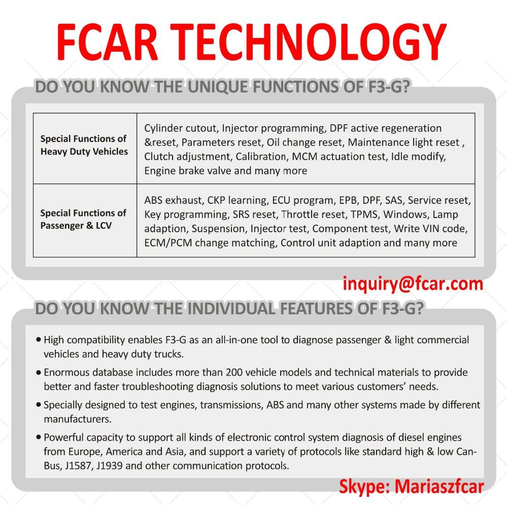FCAR F3 G SCAN TOOL, Diagnostic Master Scanner Support Almost All OBD2 Protocols
