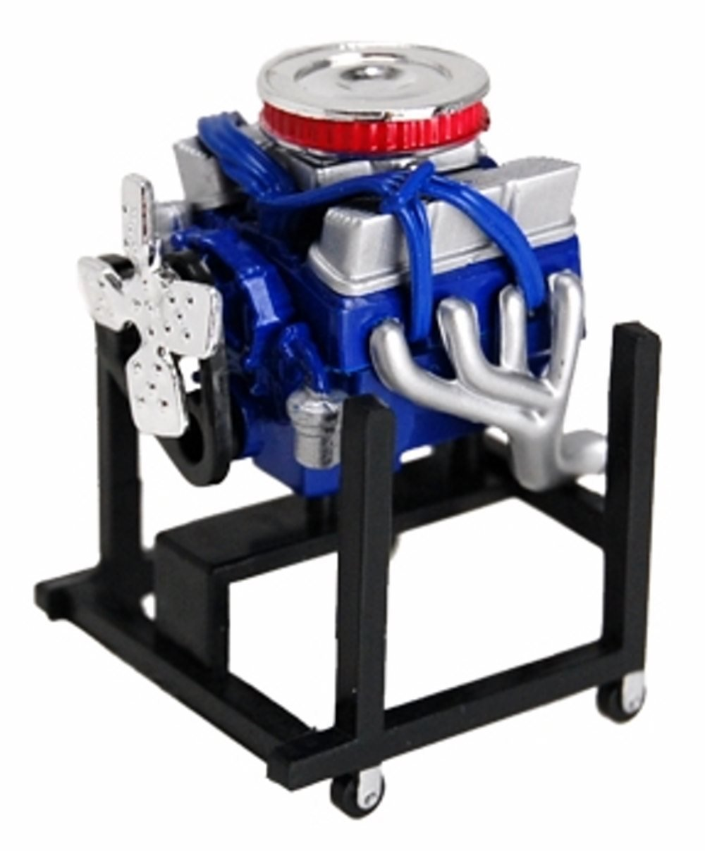 Ford V-8 347 Small Block Engine, Blue - Phoenix Toys 28009M - 1:24 Scale Diecast Model Engine Diorama Accessory