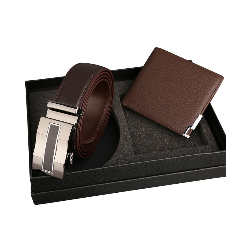 Genuine Leather Wallet Mens plus belt gift set with custom LOGO