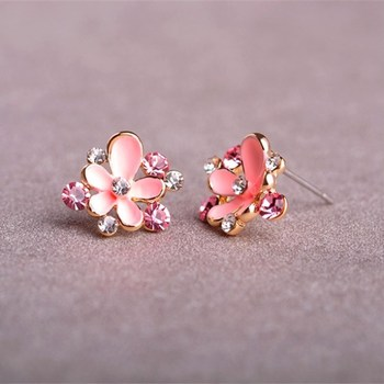 Cute Pink Enamel Plum Flower Small Earrings Crystal Stud Earring Women