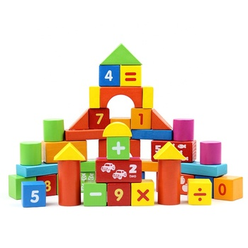 50 pieces building blocks for children cube wood education wooden box building intelligence blocks Montessori Mathematical kids