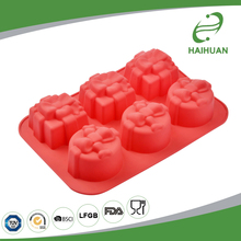 China 100% Food Grade Silicone 6-Cavity Silicone Gift Box Cake Mould Unique Baking Gifts
