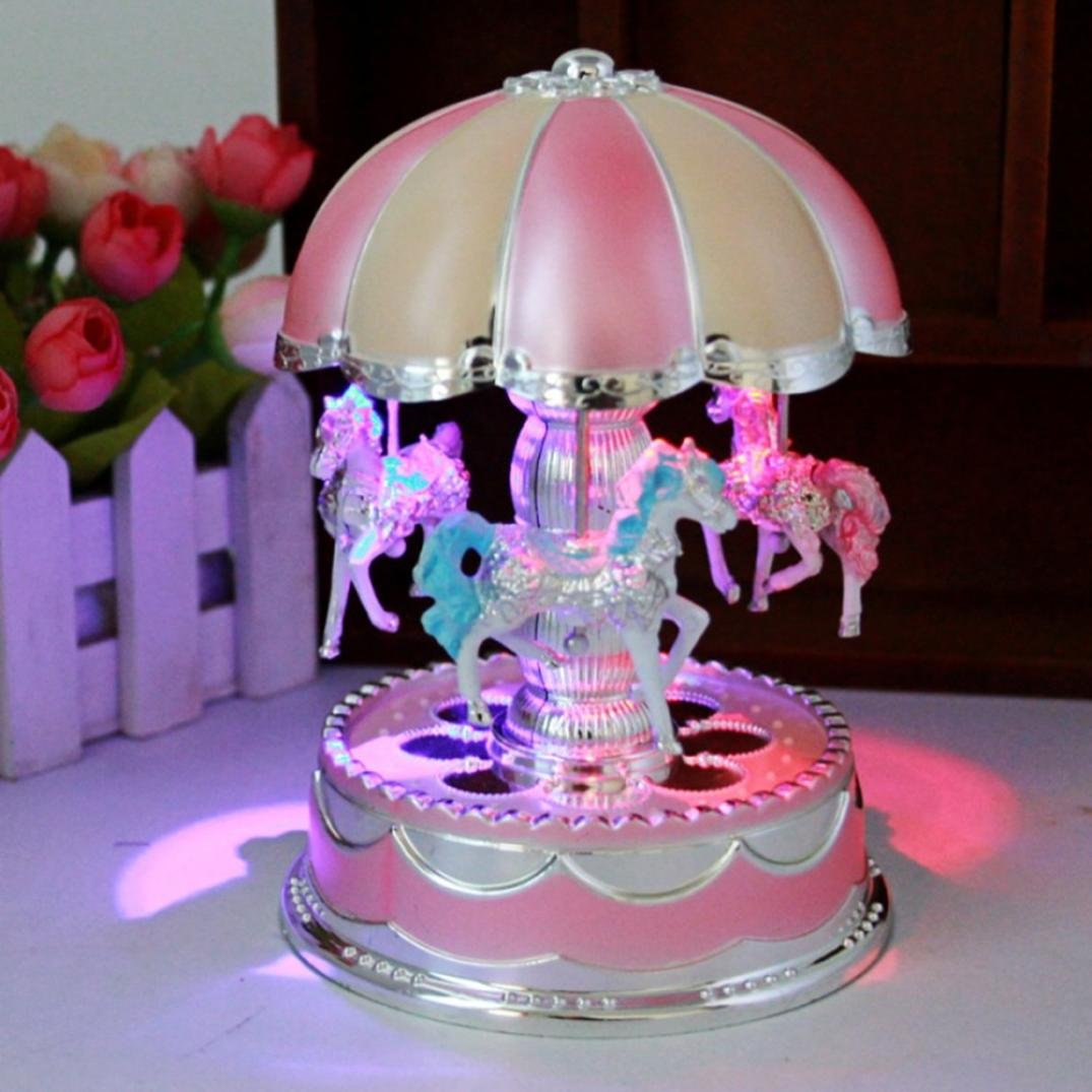 Creative Wondeful Gift,Highpot Romantic Merry-Go-Round Music Box Baby's Room Lamp Bedside Light Home Decor Carousel Kid Gift (Pink)
