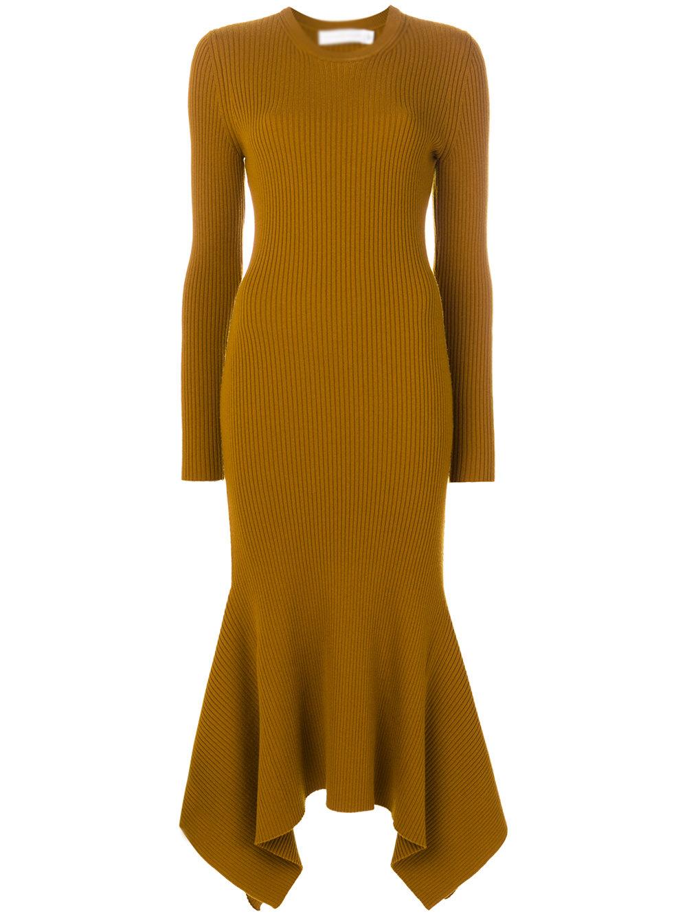 Dongguan Clothing Factory Yellow Tight Wool Draped Hem Ribbed ...