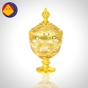 High quality special custom India engraved electroplating gold glass candy buffet jars with lid