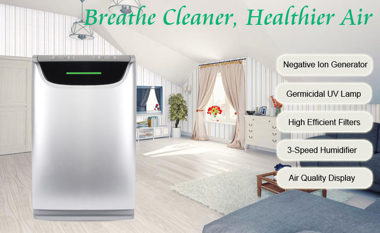 2019 Good Quality Negative Ion Odor Sensor Smart Hepa Blue Water Air Purifier