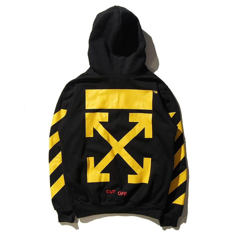 1001878708a8 2017 New Men s Hoodies OFF WHITE Arrow Design Hip Hop Hoody Casual  Sweatshirt Black White Men Streetwear Clothing