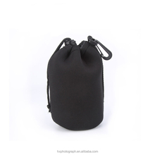 Wholesale Cheap Price Black Neoprene 4pcs Camera Lens Pouch with Drawstring