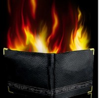 America magic trick tool real leather fire wallet Custom leather first generation flaming wallet