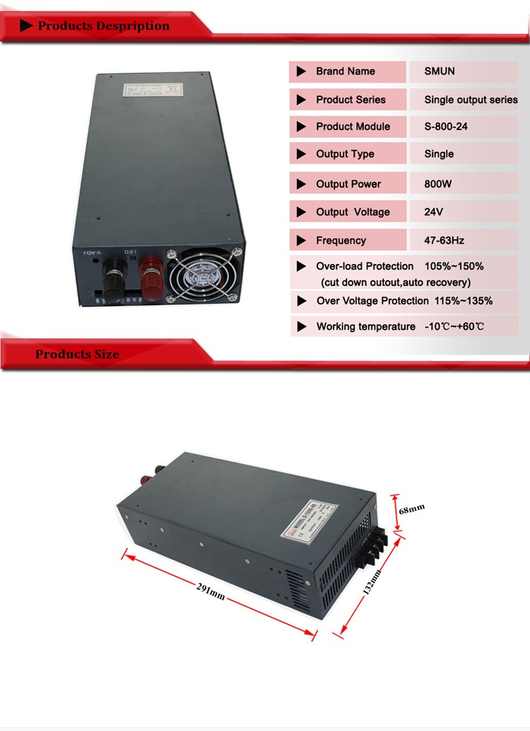 12V/15V/24V/27V/36V/48V Single Output AC To DC 800W Switching Power Supply With CE ROHS Certificated 2 years Warranty