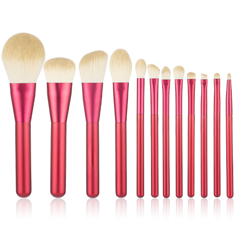 12 large red makeup brushes beauty custom makeup brush kit private label