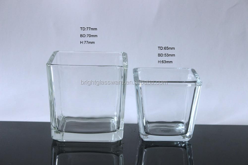 15cm15cm Large Moulded Press Square Glass Candle Holderglass Vase