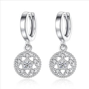 Wholesale Fashion Silver Earring No Holes Earring Clips Snow Flower Shape Promotion Gifts Diamond Jewelry