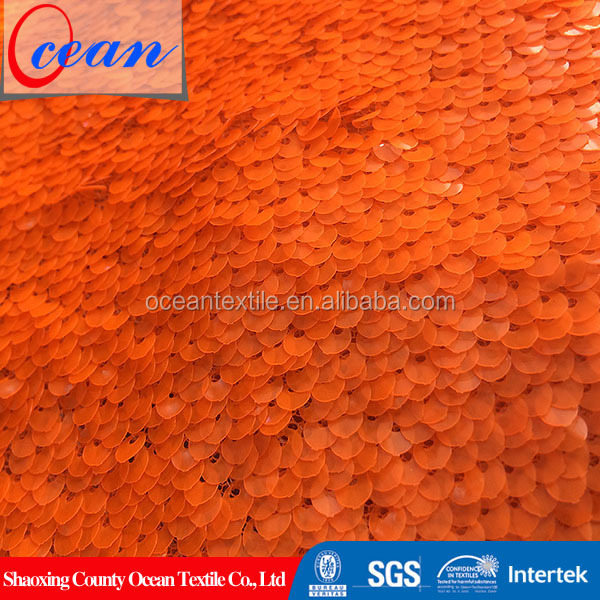 Ocean Textile 2018 Fashion 5mm Shiny Fluorescent Orange Polyester Sequin Fabric