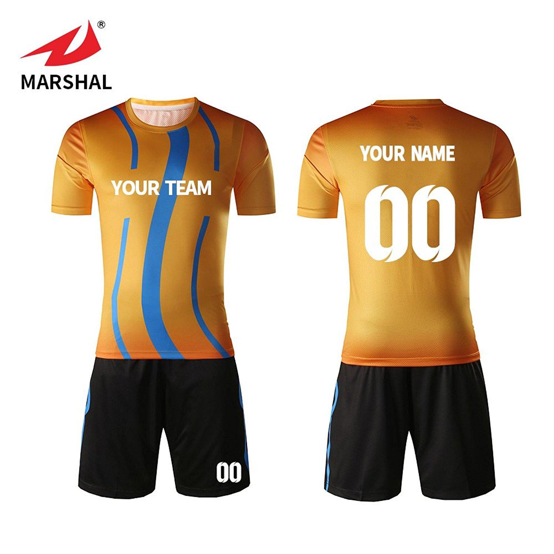 507d3ab5f Get Quotations · Marshal Jersey New Design 2018 Custom Team Soccer Jerseys  Set Gold Design Custom Men s Training Uniform