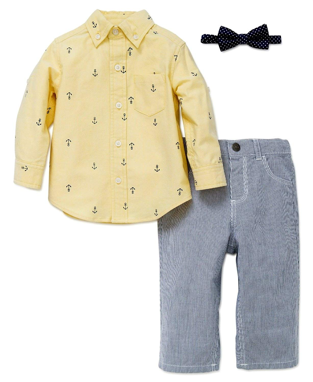 0ab69a16fb8b Get Quotations · Baby Toddler Boys Anchor Woven Dress Easter Pant Shirt Tie  Set