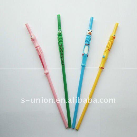 Cute Plastic Animal Cartoon Toy Drinking Straw