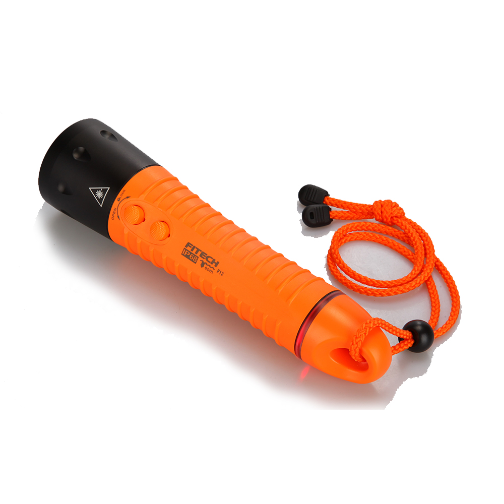Fitech IP68 multi-function diving flashlight hunting search light 4 color lights Led torch
