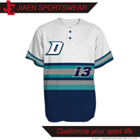 Top Customized Baseball tops/baseball tee design/Dye Sublimation baseball tee button up