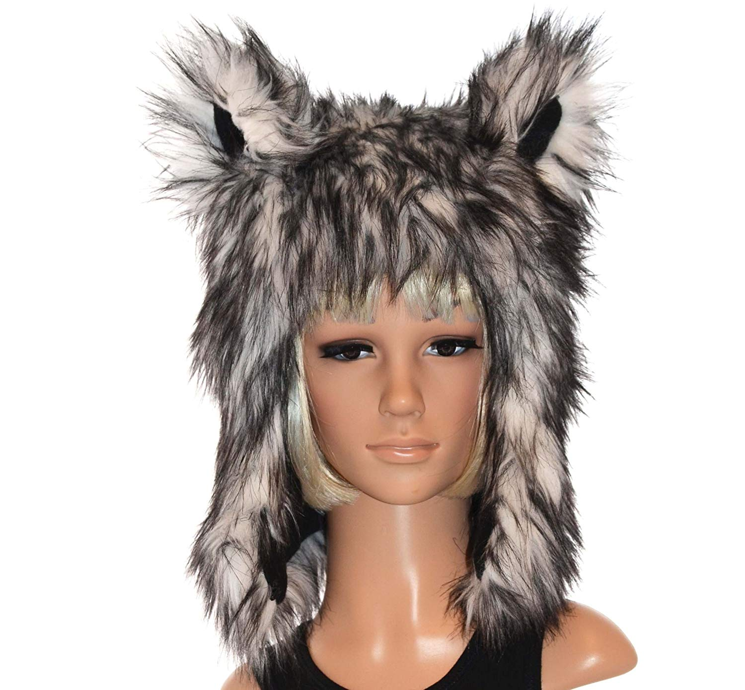 cafd7d0185b Get Quotations · Husky Wolf Hat Faux Fur Animal Hat