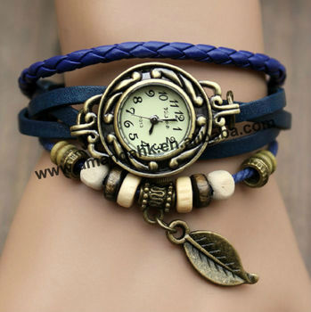 Leather Leaf Design Retro Watch Vintage Style Ladies Dress Watch Roman Classic Pendant Watch 7colors
