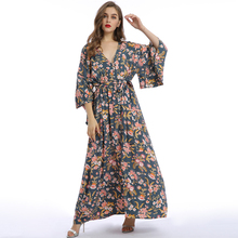 OEM Frauen Fabrik Lange Kleid Auf Lager 3/4 Big Sleeve V Necck Sexy Taille Band <span class=keywords><strong>Boho</strong></span> Druck Blume Frauen <span class=keywords><strong>Kleidung</strong></span>