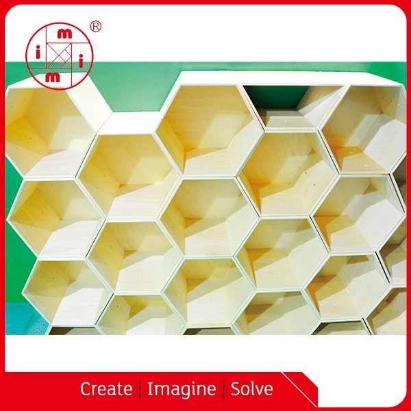 Home Diy Decorative Wall Floating Wooden Honeycomb Blocks Shelves ...