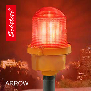 ARROW DC12V 24V 48V IP67 5W 32CD red flash Led Aviation Obstruction Light by glass