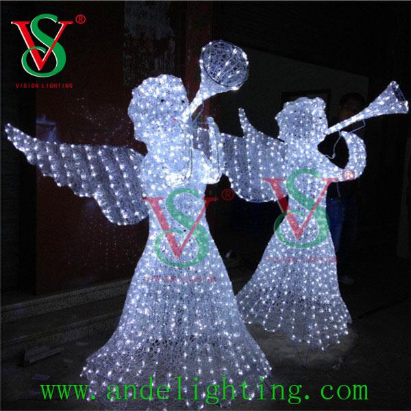 Beautiful Led 3d Angel Motif Sculpture Light Outdoor