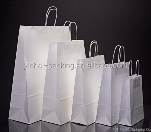 2015 Hot Sell Plain White Paper Gift Bag Used in Shopping