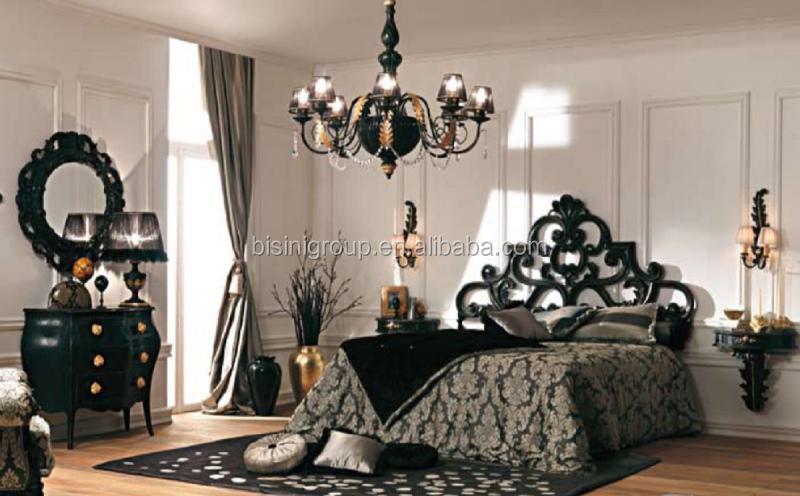 Luxe classique design fran ais style baroque sculpt lit classique noir couronne en bois lit - Bed na capitonne zwarte ...