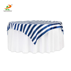 Satin printed striped table cloth 72'' square tablecloth damask
