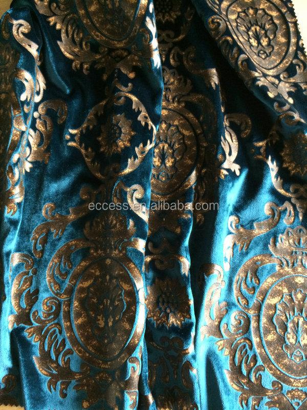 Soie viscose bronz velours tissu pour rideau textile de for Velours de soie ameublement