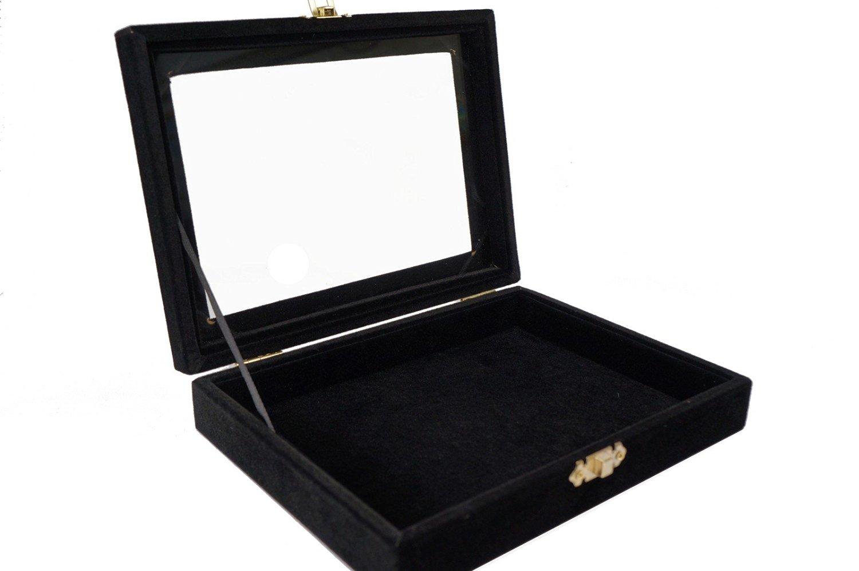 Black Velvet Jewerly Glass Top Lid Display Travel box for Ring Pendant Earrings