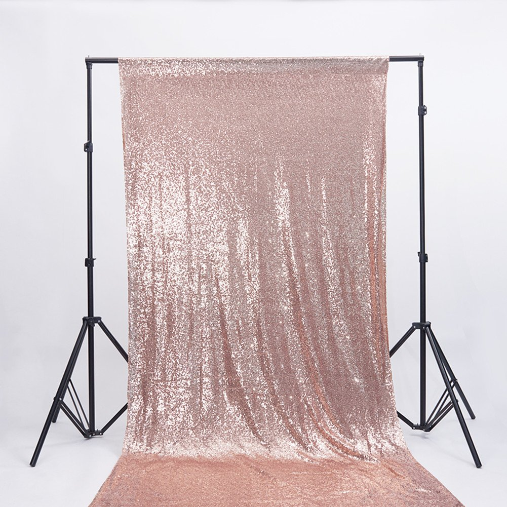 Zdada 4ftx6.5ft Holiday Party Photo Booth Backdrop Sequin Curtain for Home Decoration-Rose Gold