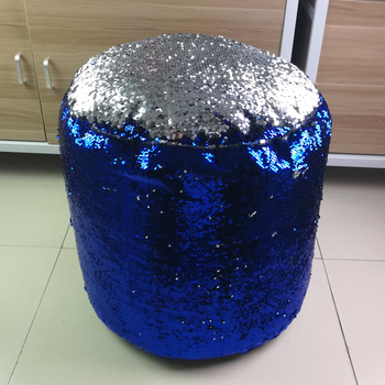 SZPLH Wholesale Royablue And Silver Cylinder Sequin Bean Bag Pouf Chair As Your Detail Size