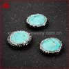 Special style silver metal turquoise beads with cz, zircon pave turquoise jewelry