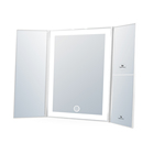 tri-fold LED mirror W magnifying full framed lighted makeup mirror