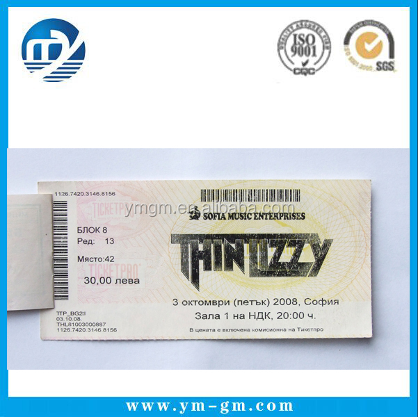 Ticket Printing Paper Tickets Custom Printed Concert Tickets Buy – Printable Ticket Paper