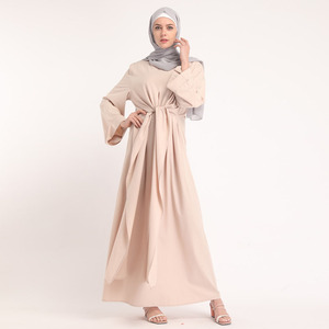 New 2019 Middle East Solid Color Women Islamic Clothing Wrap Abaya Dress maxi kimino abaya