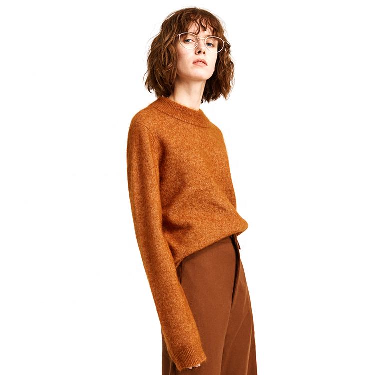 Wholesale Custom Slim O-Neck Womens Peruvian Alpaca Sweaters