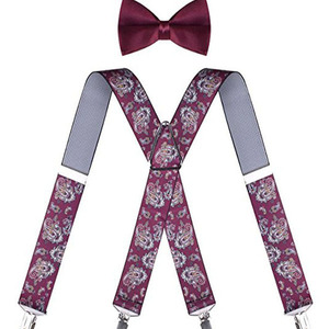New style factory price wholesale Bow Tie and Suspenders Set for Men X Shape Clip Straps and Pre tied Bow tie
