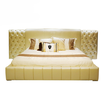 High Back Wood Frame Double Bed Designs King Size Space Saving ...