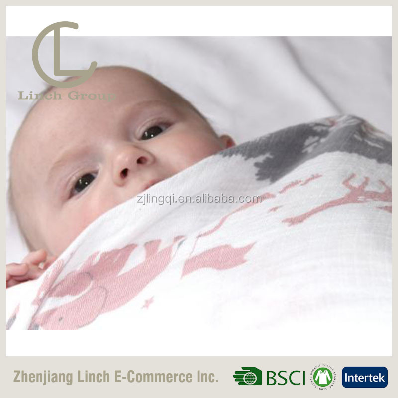LC B-254 100%cotton custom printed wholesale bamboo muslin gauze fabric for baby diaper swaddle
