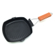 Promotional Cast Iron Square BBQ Grill Pan With Wooden Handle