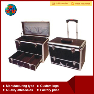Multi-function aluminum tool case with drawer and trolley wheels